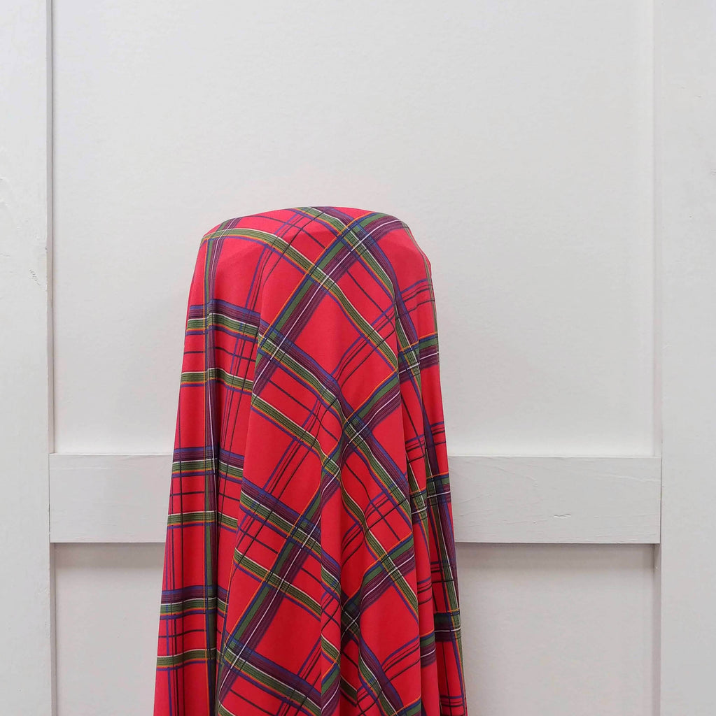Red Green Blue and Gold Tartan Plaid 4 Way Stretch Double Brushed Poly, By Bri Powell for CLUB Fabrics - Raspberry Creek Fabrics