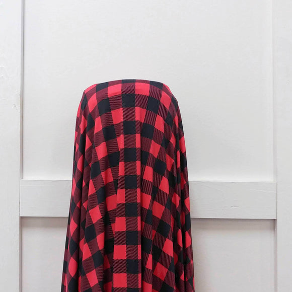 Red and Black Buffalo Plaid 4 Way Stretch Double Brushed Poly, CLUB Fabrics