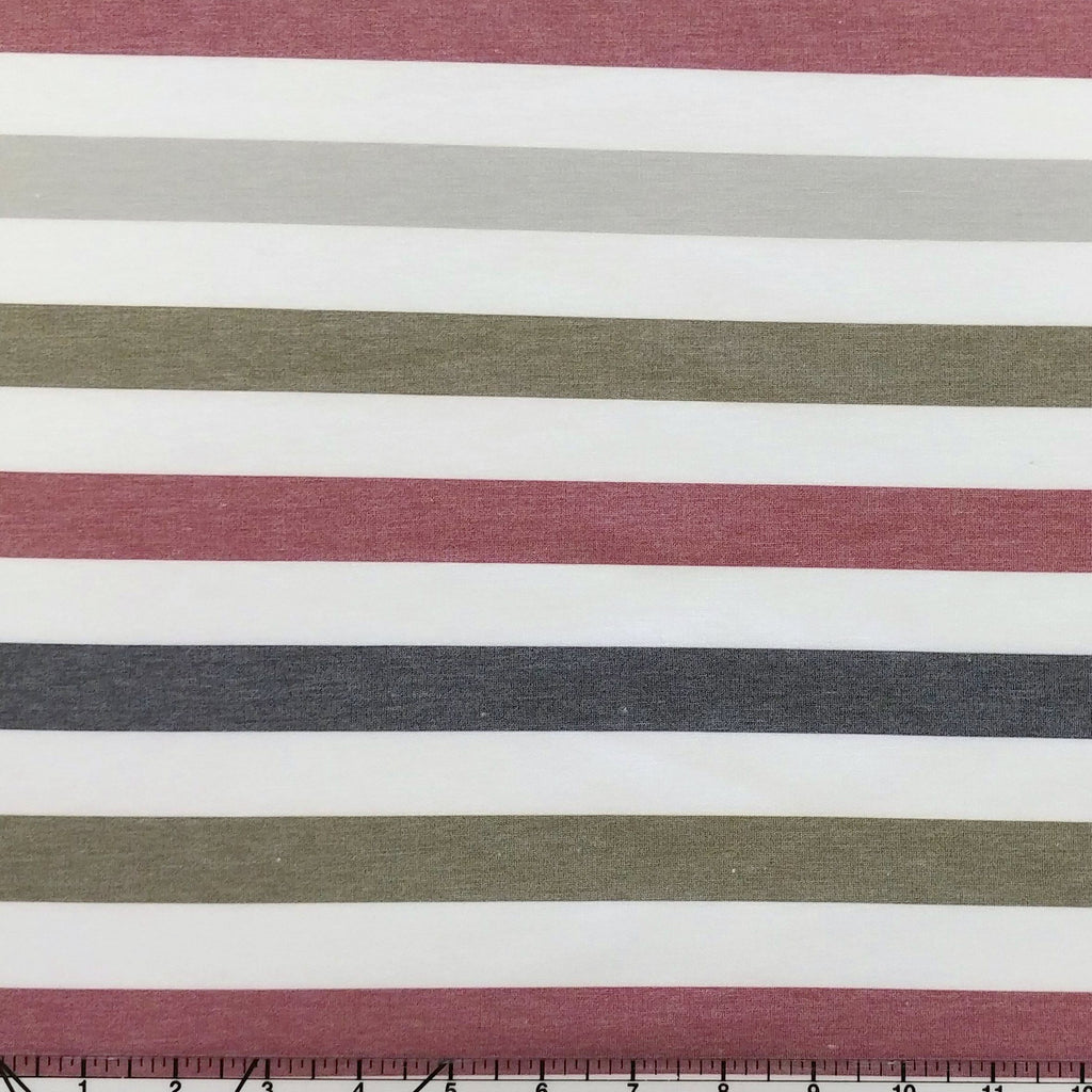 Burgundy Grey Charcoal and Olive Multi Stripe French Terry Fleece Sweatshirt Knit Fabric, CLUB Fabrics - Raspberry Creek Fabrics