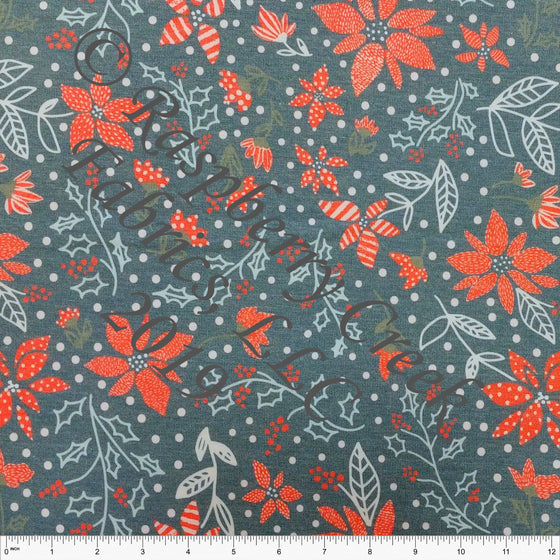 Teal Red and Pink Poinsettia Floral Heathered FLEECE Sweatshirt Knit Fabric, Kimberly Henrie for CLUB Fabrics - Raspberry Creek Fabrics