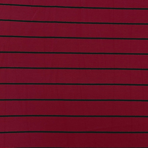 Burgundy and Black Yarn Dyed Stripe Modal Spandex Jersey Knit Fabric, 1 Yard - Raspberry Creek Fabrics