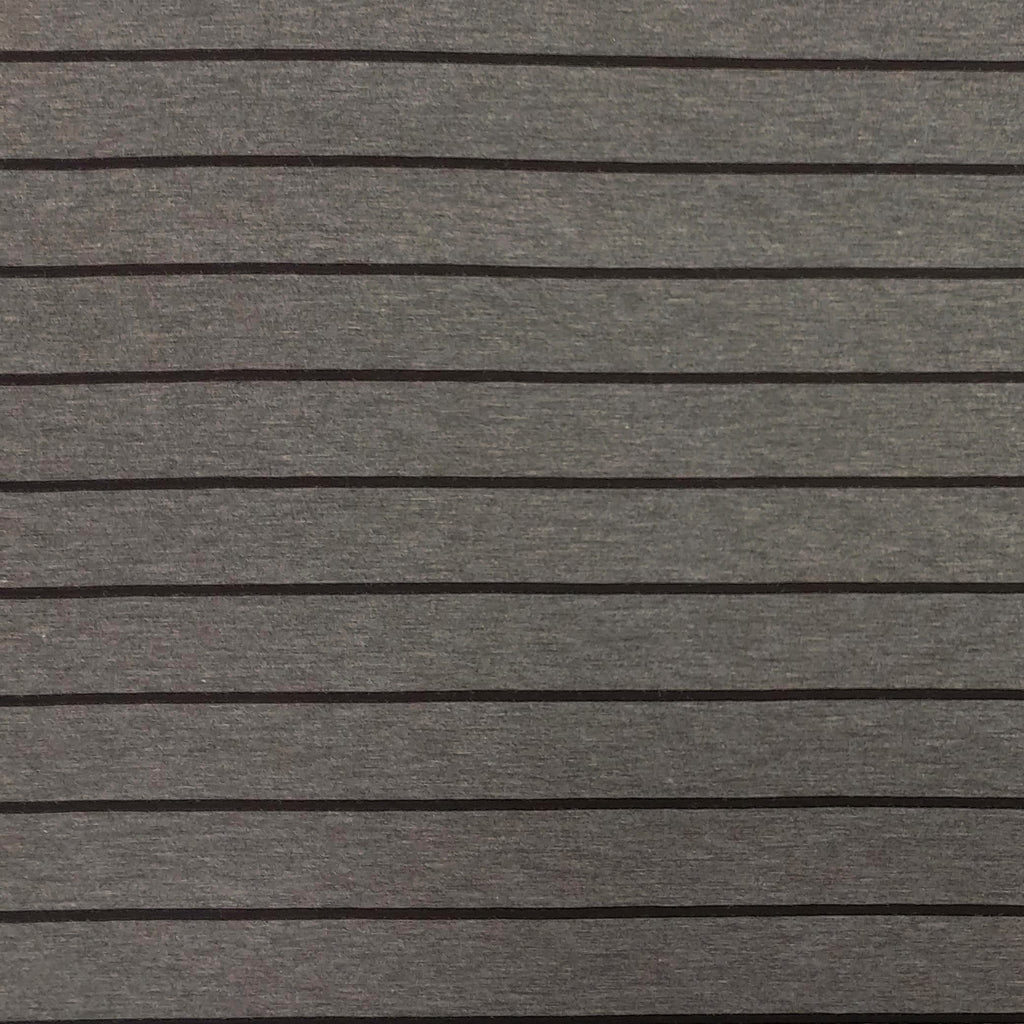 Charcoal and Black Yarn Dyed Stripe Modal Spandex Jersey Knit Fabric - Raspberry Creek Fabrics