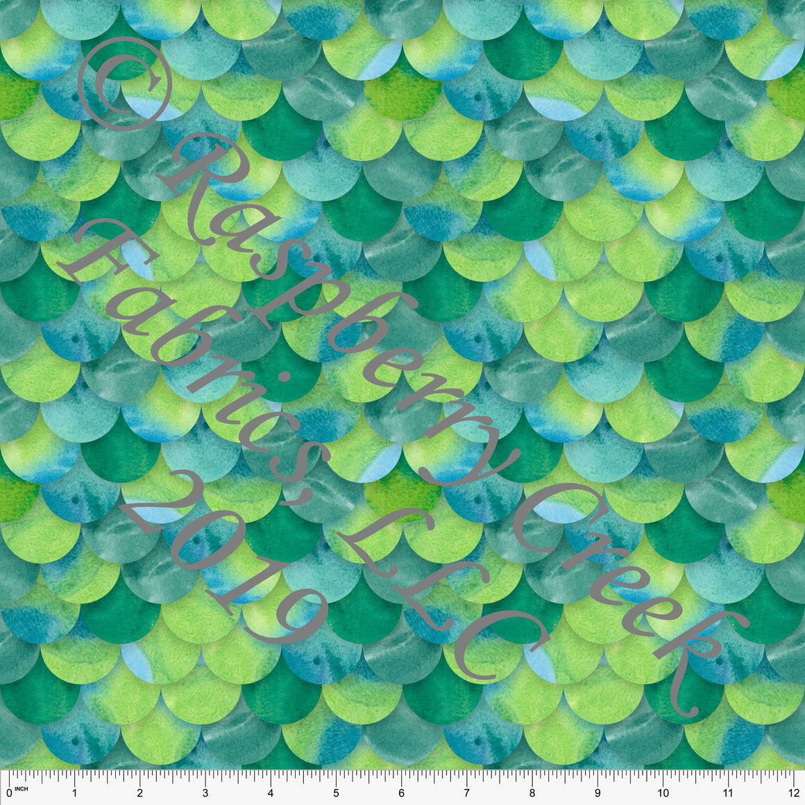 Tonal Teal and Green Watercolor Mermaid Scale 4 Way Stretch MATTE SWIM Knit Fabric, Club Fabrics