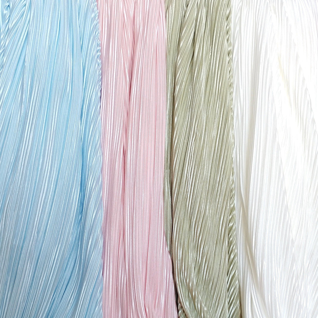 Off White Pleated Satin Fabric - Raspberry Creek Fabrics