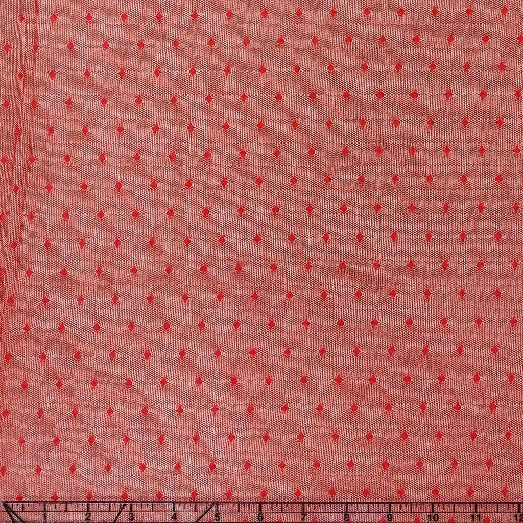 Red Nylon Polka Dot Stretch Mesh - Raspberry Creek Fabrics