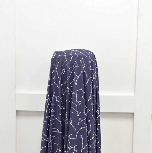 Navy and White Constellation Print 4 Way Stretch Double Brushed Poly Knit Fabric, By Brittney Laidlaw for CLUB Fabrics