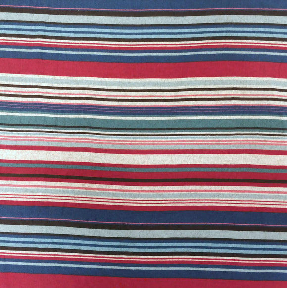Burgundy Navy Dusty Blue and Grey Multi Stripe Brushed Hacci Sweater Knit Fabric, 1 Yard