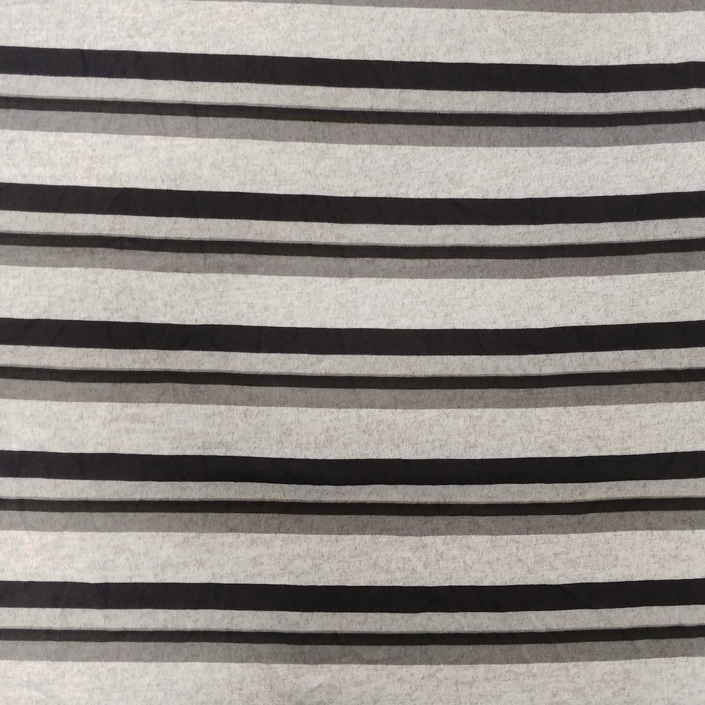 Tonal Black and Grey Stripe Brushed Hacci Sweater Knit Fabric - Raspberry Creek Fabrics