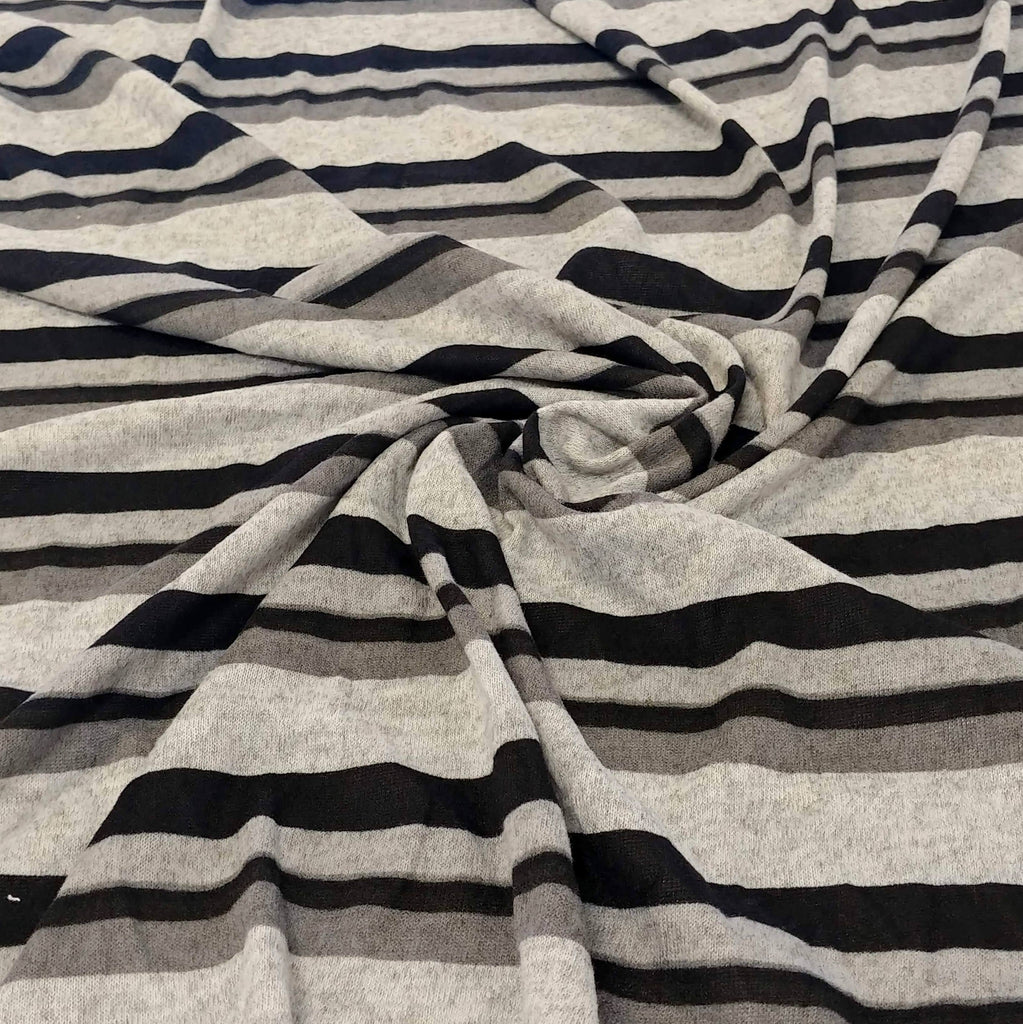 Tonal Black and Grey Stripe Brushed Hacci Sweater Knit Fabric, 1 Yard - Raspberry Creek Fabrics