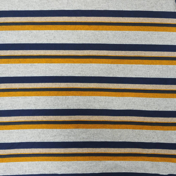 Navy Mustard Cream and Grey Multi Stripe Brushed Hacci Sweater Knit Fabric - Raspberry Creek Fabrics