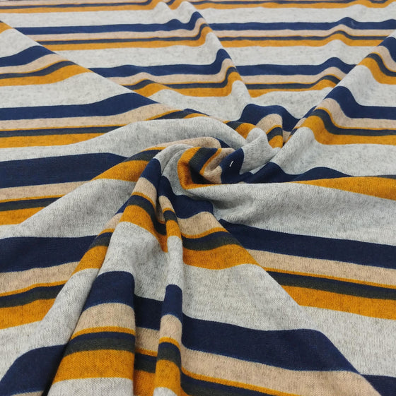 Navy Mustard Cream and Grey Multi Stripe Brushed Hacci Sweater Knit Fabric, 1 Yard
