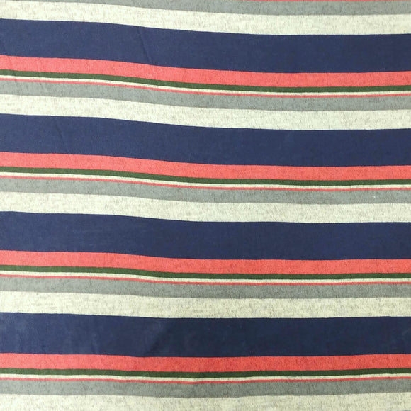 Navy Olive Salmon and Grey Multi Stripe Brushed Hacci Sweater Knit Fabric, 1 Yard
