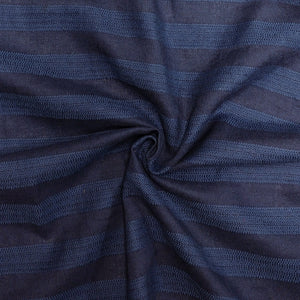 Tonal Indigo and Navy Blue Textured Horizontal Stripe Medium Weight Cotton Rayon Linen - Raspberry Creek Fabrics Knit Fabric