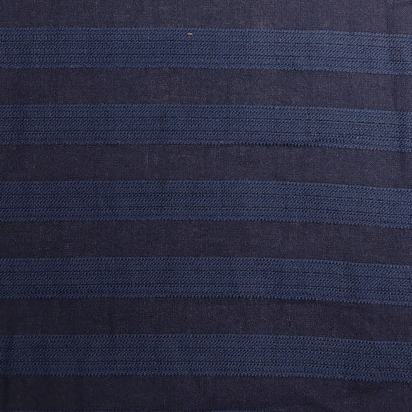 Tonal Indigo and Navy Blue Textured Horizontal Stripe Medium Weight Cotton Rayon Linen - Raspberry Creek Fabrics