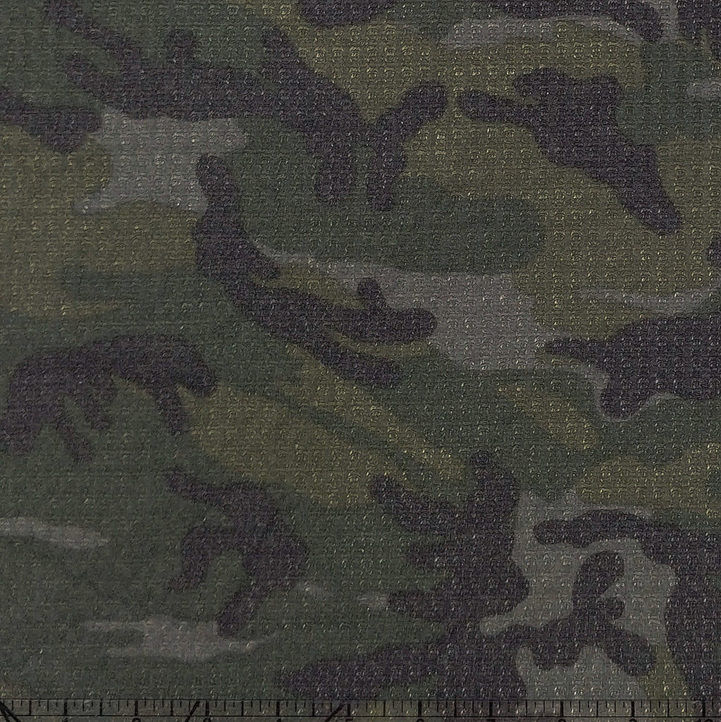 Tonal Green Black and Grey Camouflage Waffle Knit Fabric - Raspberry Creek Fabrics