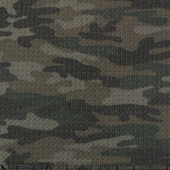 Hunter Green Brown and Charcoal Camouflage Waffle Knit Fabric - Raspberry Creek Fabrics