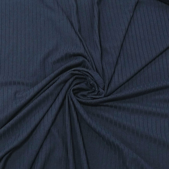 Solid Navy Blue Poly Spandex 4 Way Stretch 8x3 Rib Knit - Raspberry Creek Fabrics
