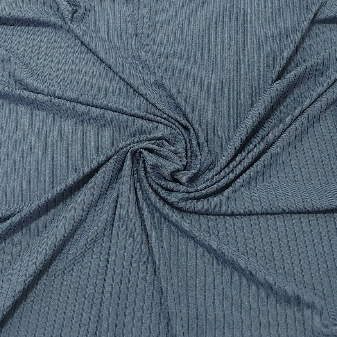 Solid Cornflower Blue Poly Spandex 4 Way Stretch 8x3 Rib Knit - Raspberry Creek Fabrics