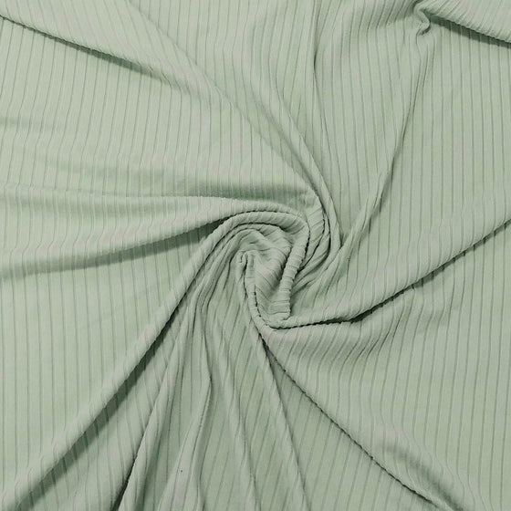 Solid Light Sage Green Poly Spandex 4 Way Stretch 8x3 Rib Knit - Raspberry Creek Fabrics