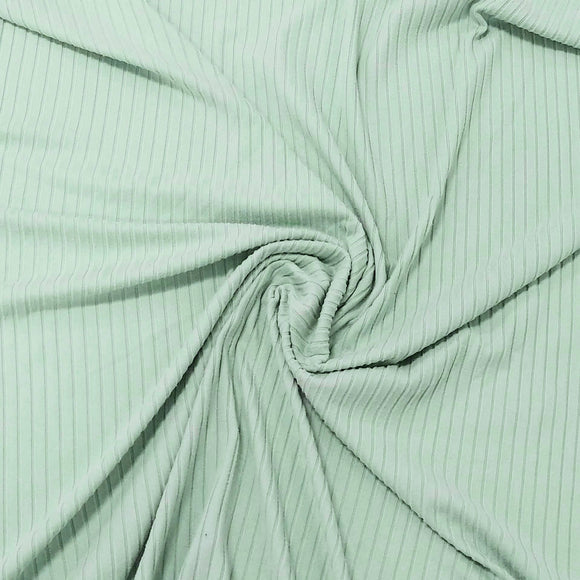 Solid Mint Green Poly Spandex 4 Way Stretch 8x3 Rib Knit - Raspberry Creek Fabrics