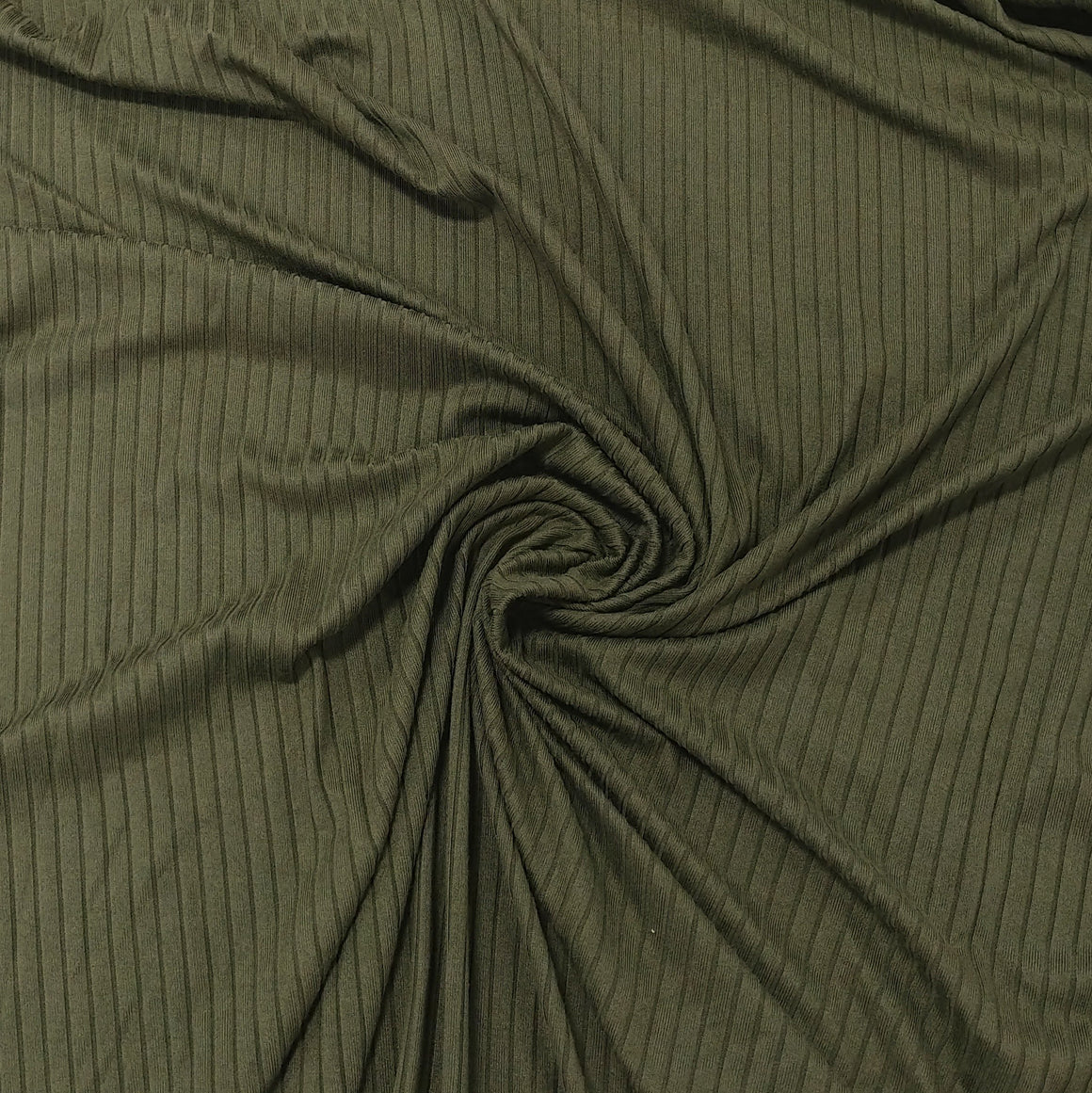 Solid Olive Green Poly Spandex 4 Way Stretch 8x3 Rib Knit - Raspberry Creek Fabrics