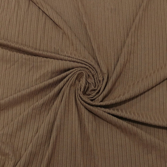 Solid Mocha Poly Spandex 4 Way Stretch 8x3 Rib Knit - Raspberry Creek Fabrics