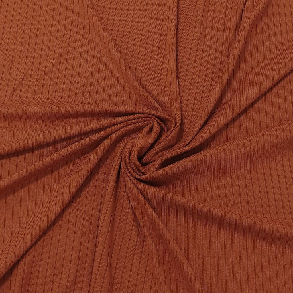 Solid Rust Poly Spandex 4 Way Stretch 8x3 Rib Knit - Raspberry Creek Fabrics