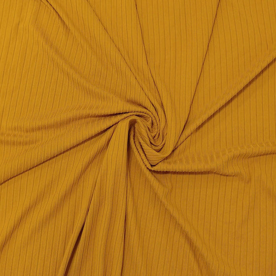 Solid Gold Poly Spandex 4 Way Stretch 8x3 Rib Knit - Raspberry Creek Fabrics