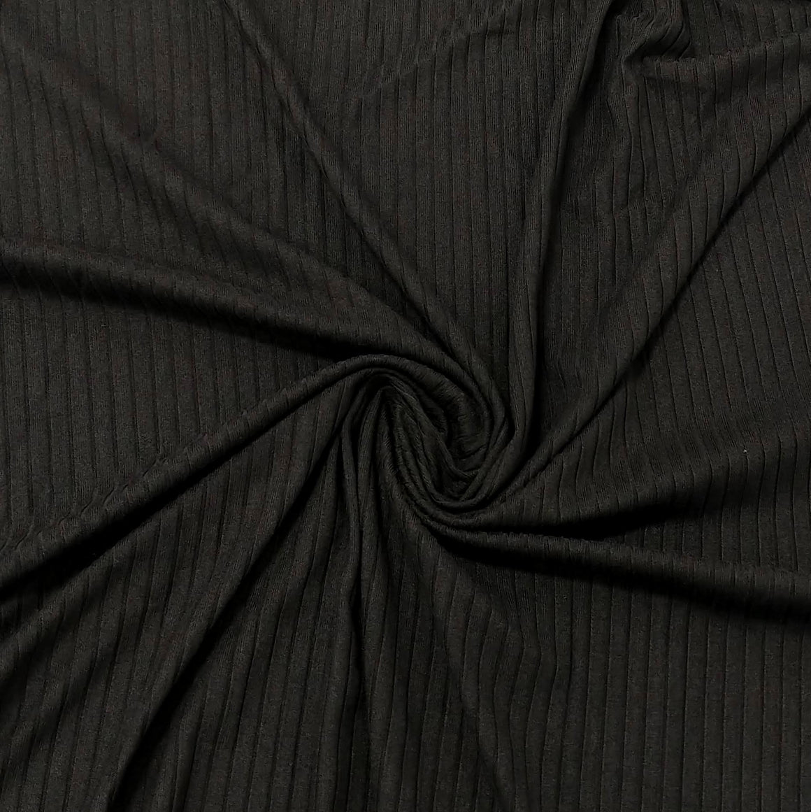 Solid Black Poly Spandex 4 Way Stretch 8x3 Rib Knit - Raspberry Creek Fabrics