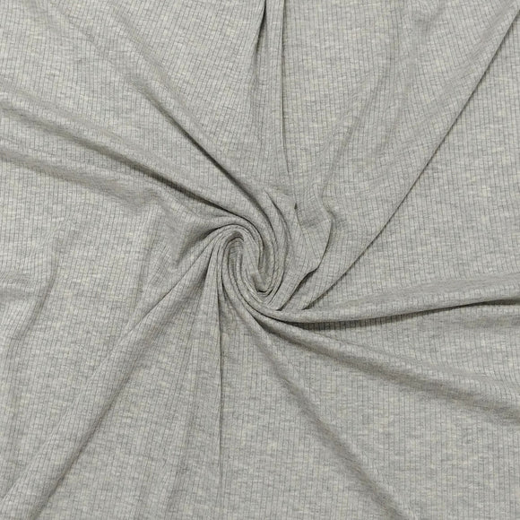 Solid Light Heather Grey Tencel Modal Spandex 4 Way Stretch 3x2 Rib Knit - Raspberry Creek Fabrics