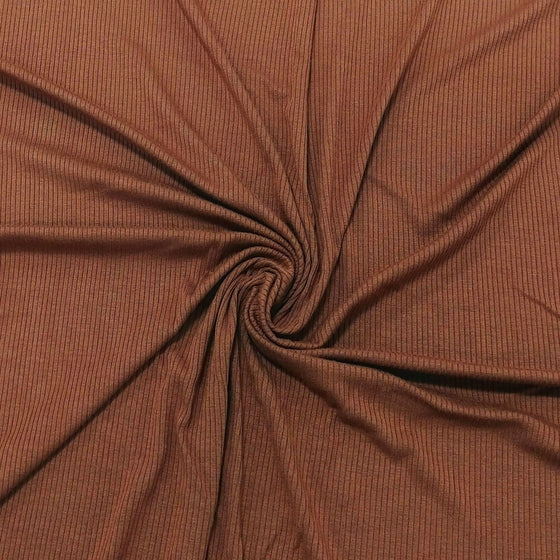 Solid Warm Pecan Tencel Modal Spandex 4 Way Stretch 3x2 Rib Knit - Raspberry Creek Fabrics