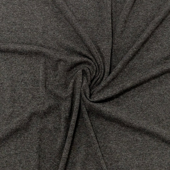 Solid Charcoal Grey Bamboo Cotton Spandex 4 Way Stretch 1x1 Ribbing - Raspberry Creek Fabrics