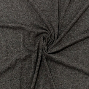 Solid Charcoal Grey Bamboo Cotton Spandex 4 Way Stretch 1x1 Ribbing - Raspberry Creek Fabrics Knit Fabric