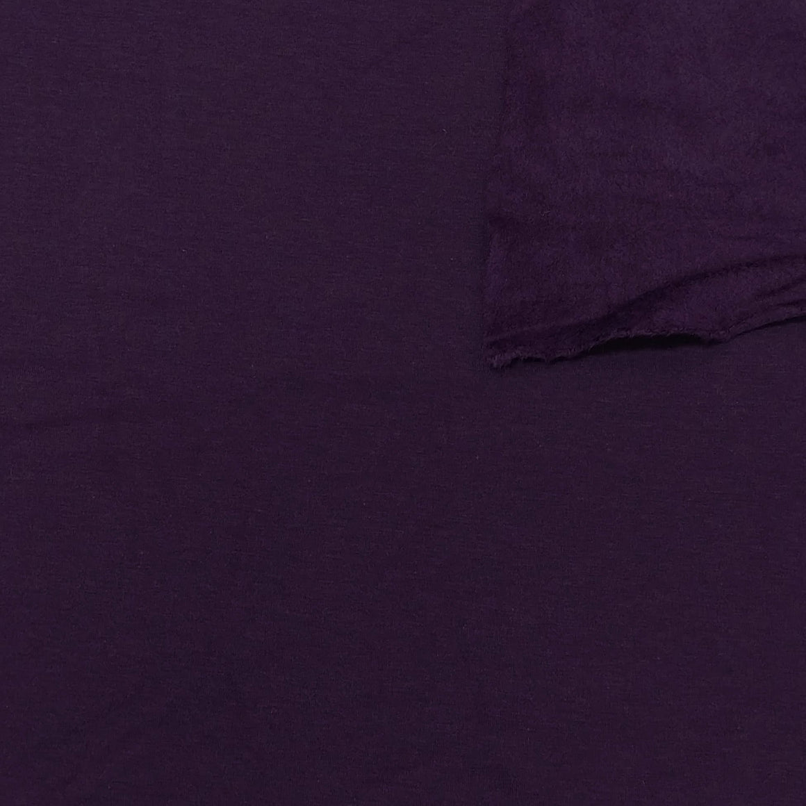 Eggplant Purple Bamboo Cotton Spandex 4 Way Stretch Sweatshirt Fleece - Raspberry Creek Fabrics