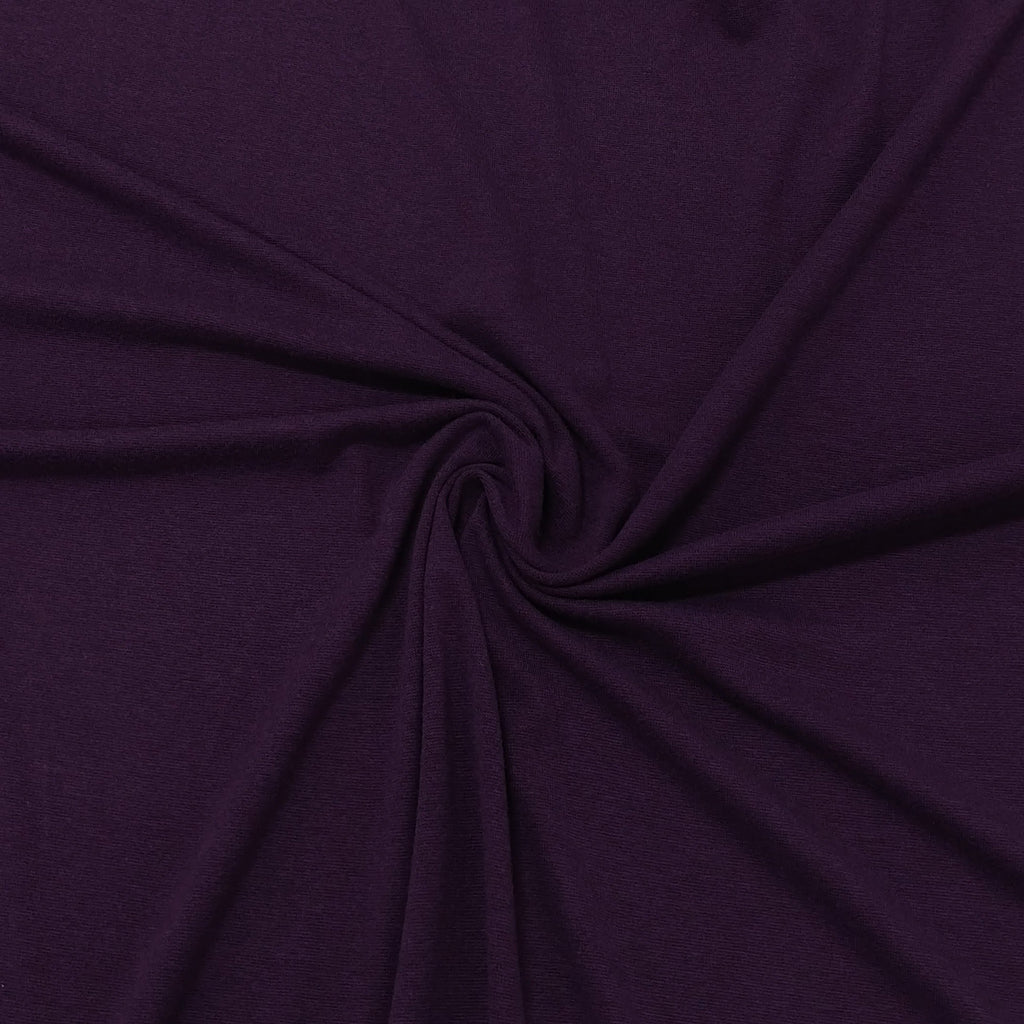 Eggplant Purple Bamboo Cotton Spandex 4 Way Stretch 1x1 Ribbing - Raspberry Creek Fabrics