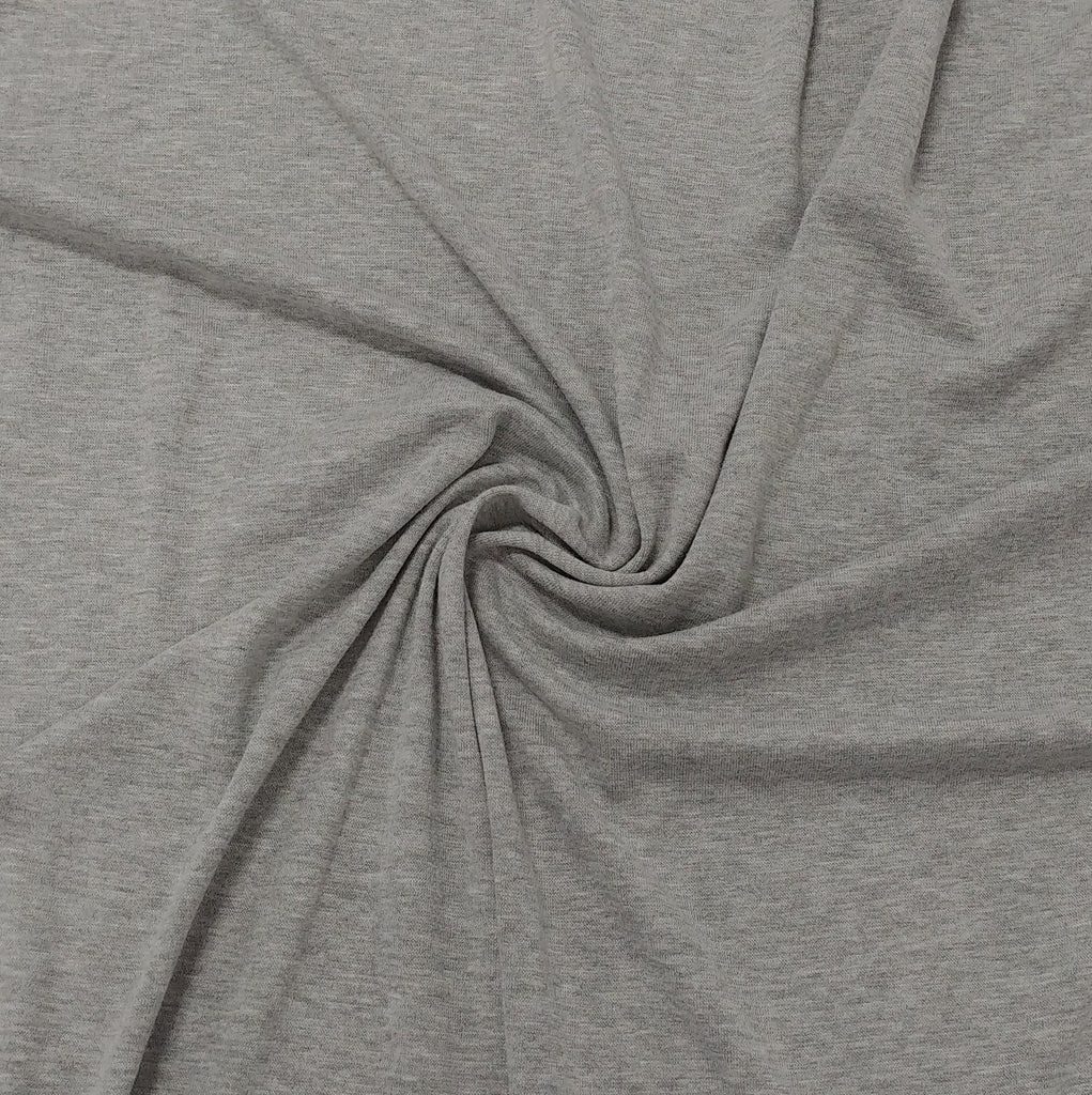 Solid Heather Grey Bamboo Cotton Spandex 4 Way Stretch 1x1 Ribbing - Raspberry Creek Fabrics