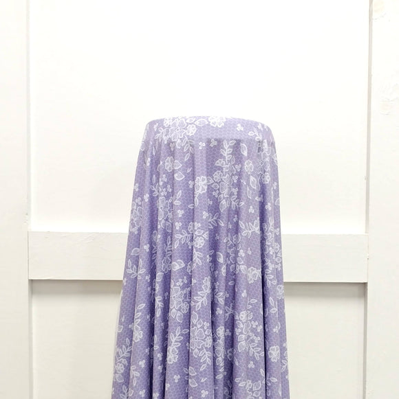 Tonal Dusty Lilac Lace Look Print Double Brushed Poly Knit Fabric, Spring Lace for CLUB Fabrics - Raspberry Creek Fabrics