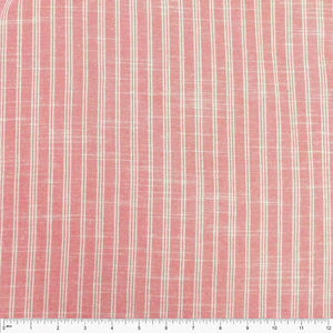 Coral and Off White Yarn Dyed Vertical Stripe Light to Medium Weight Rayon Linen - Raspberry Creek Fabrics Knit Fabric