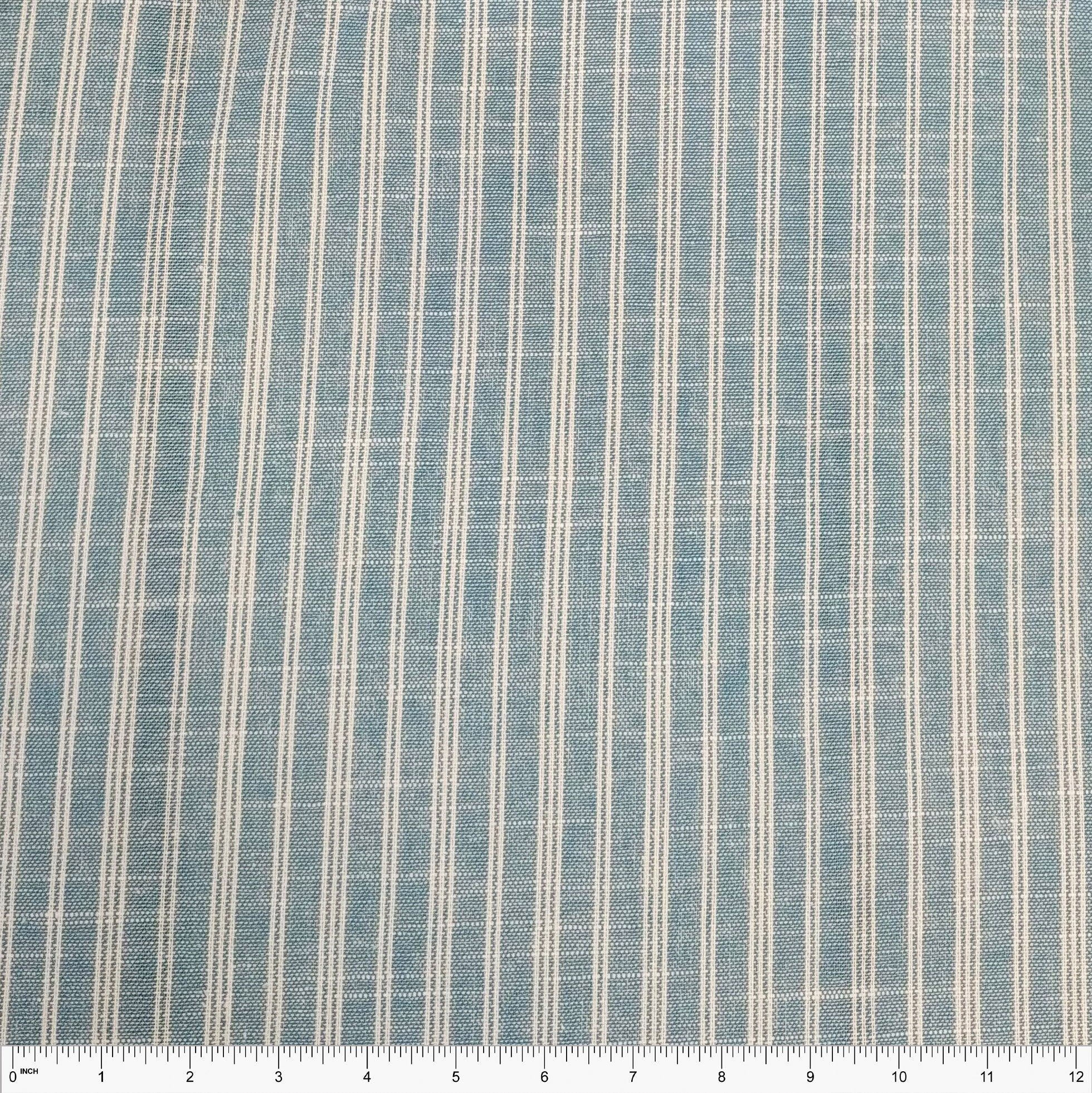 Light Chambray Blue and Off White Yarn Dyed Vertical Stripe Light to Medium Weight Rayon Linen - Raspberry Creek Fabrics Knit Fabric