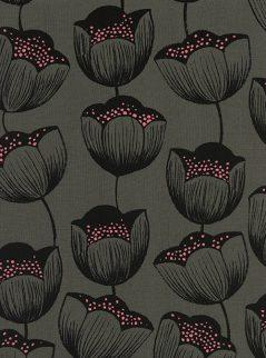 Grey Black and Pink Tulip Floral Rayon Challis, Magic Forest by Sarah Watts for Cotton and Steel, Magic Tulips in Grey, 1 Yard