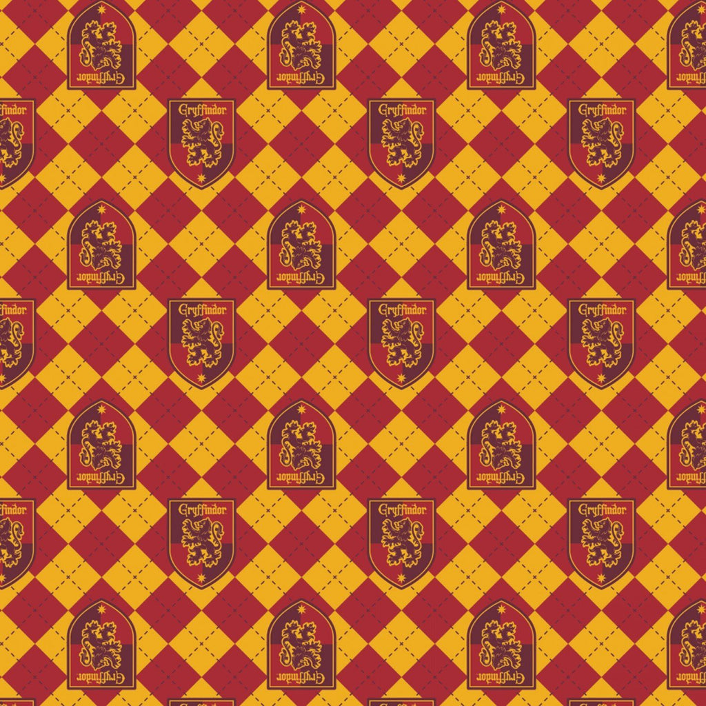 Gold and Burgundy Griffindor Crest Harry Potter Argyle Flannel, 1 Yard - Raspberry Creek Fabrics