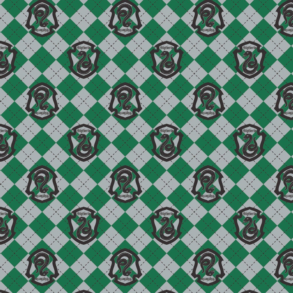 Green Grey and Black Slytherin Crest Harry Potter Argyle Flannel