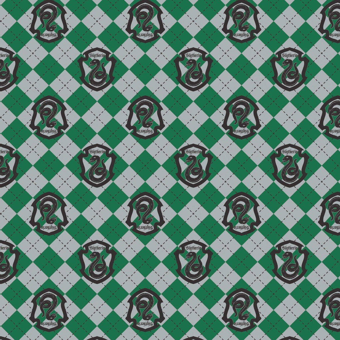 Green Grey and Black Slytherin Crest Harry Potter Argyle Flannel, 1 Yard - Raspberry Creek Fabrics
