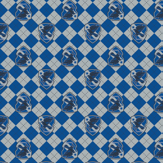 Royal Blue Grey and Black Ravenclaw Crest Harry Potter Argyle Flannel - Raspberry Creek Fabrics