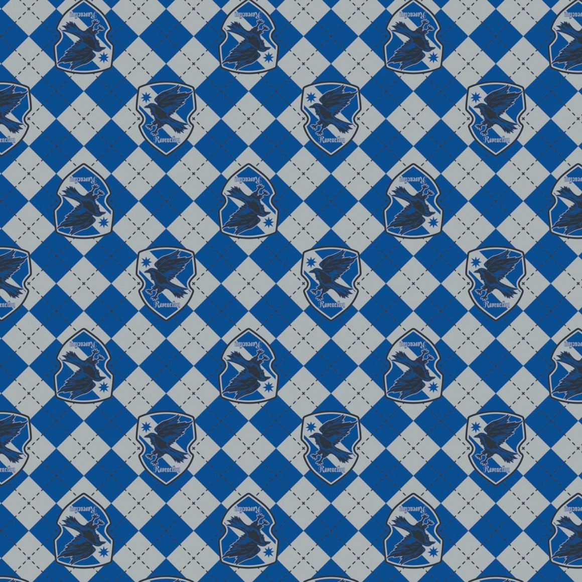 Royal Blue Grey and Black Ravenclaw Crest Harry Potter Argyle Flannel, 1 Yard - Raspberry Creek Fabrics