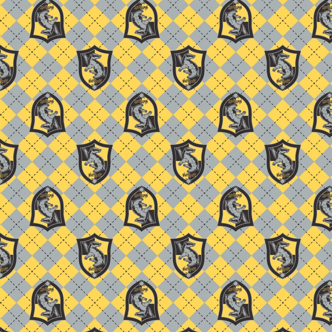 Yellow Grey and Black Hufflepuff Crest Harry Potter Argyle Flannel, 1 Yard - Raspberry Creek Fabrics