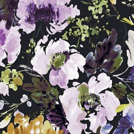Lilac Mustard Olive and Black Large Floral Cotton Lawn, By Kelly Ventura for Windham Fabrics - Raspberry Creek Fabrics
