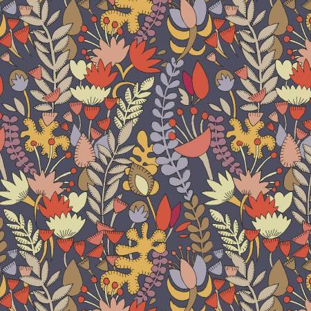 Mustard Rust Charcoal and Dusty Purple Fall Vine Floral Cotton Lawn, By Kelly Ventura for Windham Fabrics - Raspberry Creek Fabrics