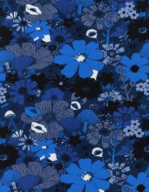 Black and Royal Blue Tonal Floral Jersey Knit Fabric, Dress Shop By Sarah Watts for Cotton and Steel, 1 Yard