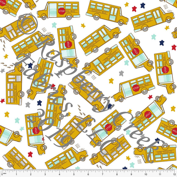 Mustard Mint Red Navy and Grey Tossed School Bus and Star 4 Way Stretch Jersey Knit Fabric, Back to School by Bri Powell for Club Fabrics - Raspberry Creek Fabrics